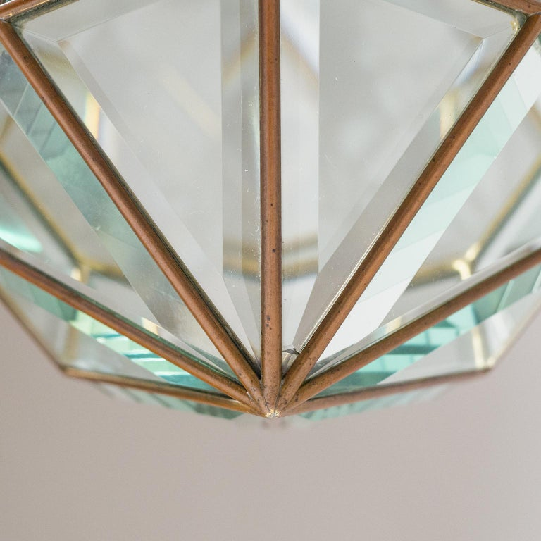 Italian 1940s Lantern, Faceted Glass and Brass For Sale 12