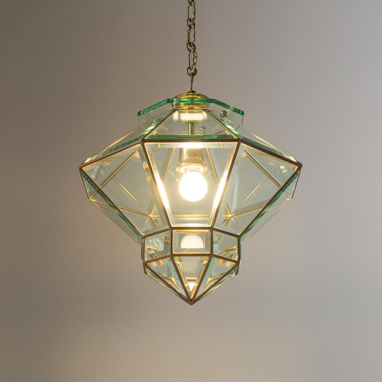 Italian 1940s Lantern, Faceted Glass and Brass For Sale 13