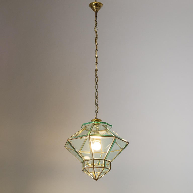 Italian 1940s Lantern, Faceted Glass and Brass For Sale 14