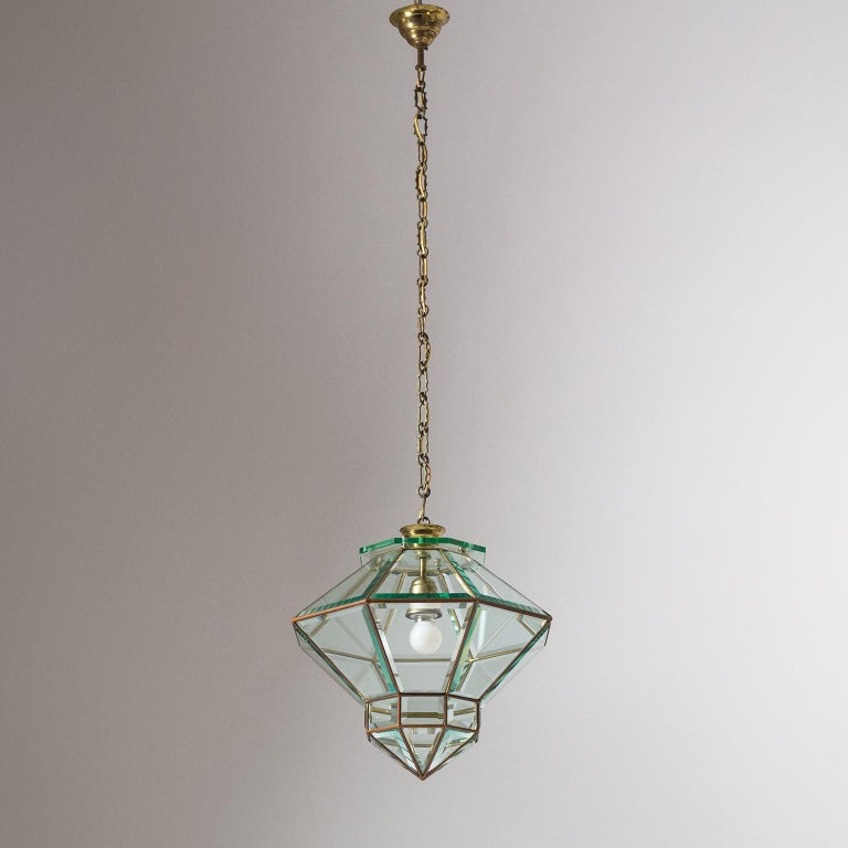 Italian 1940s Lantern, Faceted Glass and Brass For Sale 15