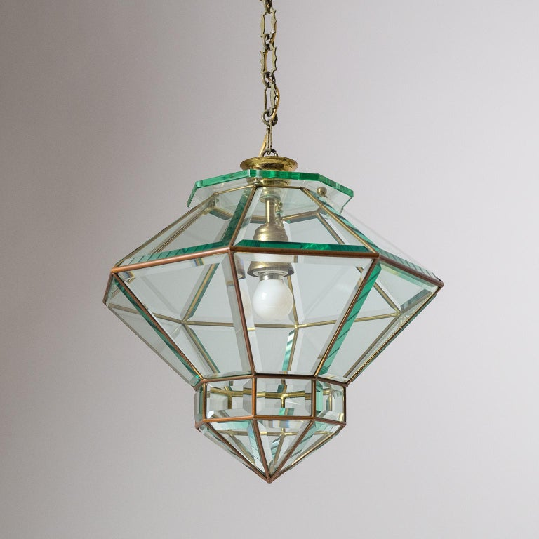 Art Deco Italian 1940s Lantern, Faceted Glass and Brass For Sale