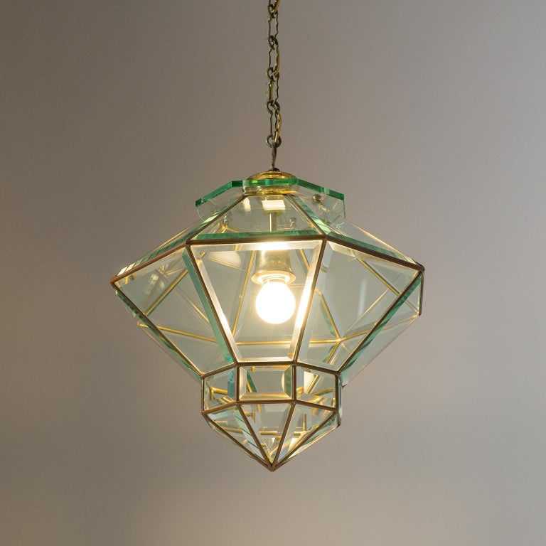 Italian 1940s Lantern, Faceted Glass and Brass In Good Condition For Sale In Vienna, AT
