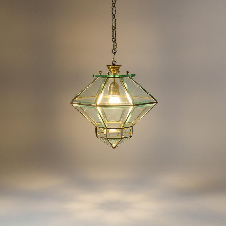 Mid-20th Century Italian 1940s Lantern, Faceted Glass and Brass For Sale
