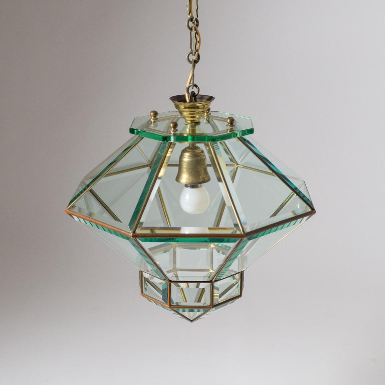 Italian 1940s Lantern, Faceted Glass and Brass For Sale 1