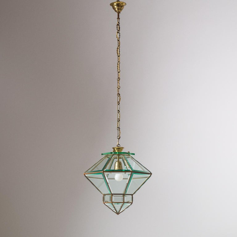 Italian 1940s Lantern, Faceted Glass and Brass For Sale 4