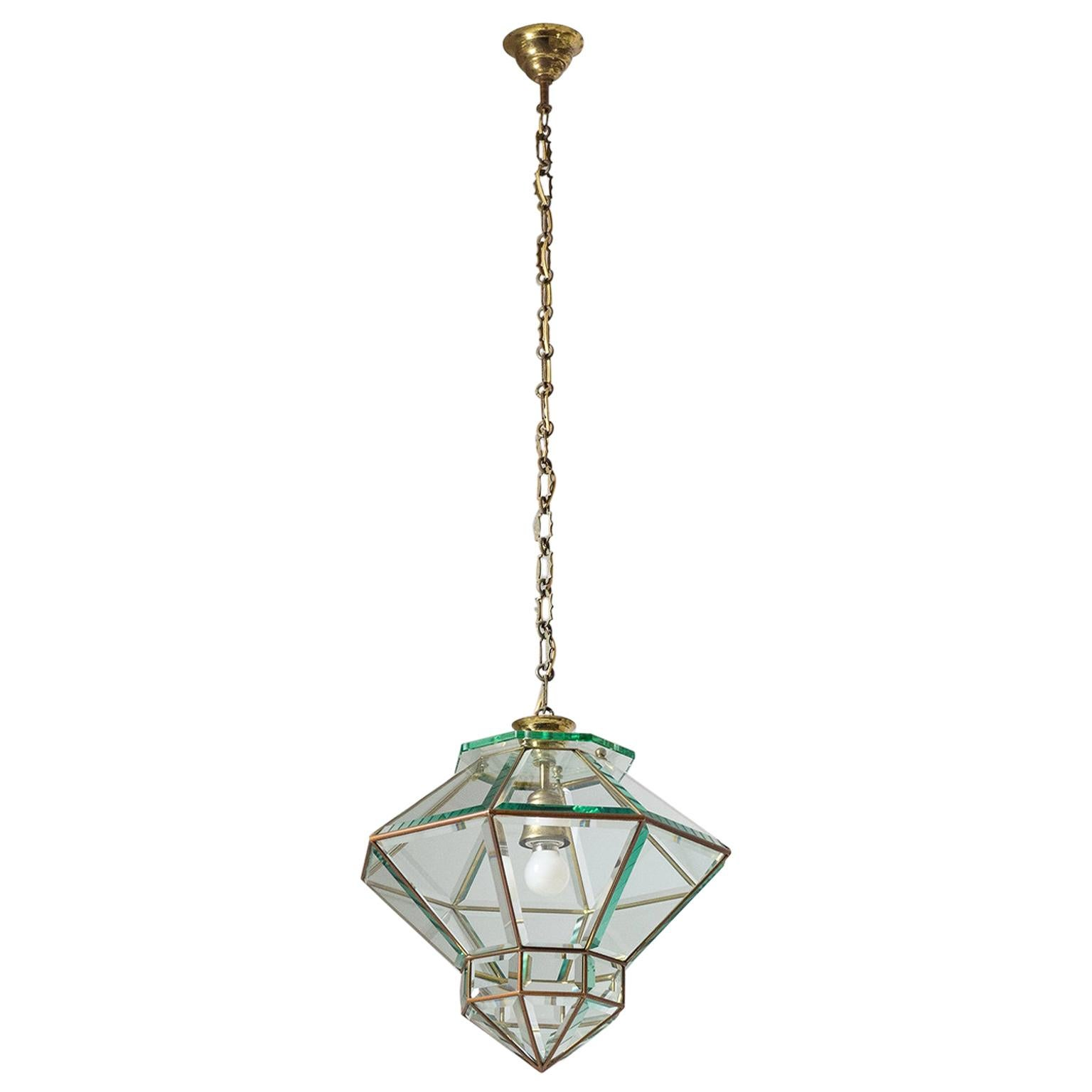 Italian 1940s Lantern, Faceted Glass and Brass