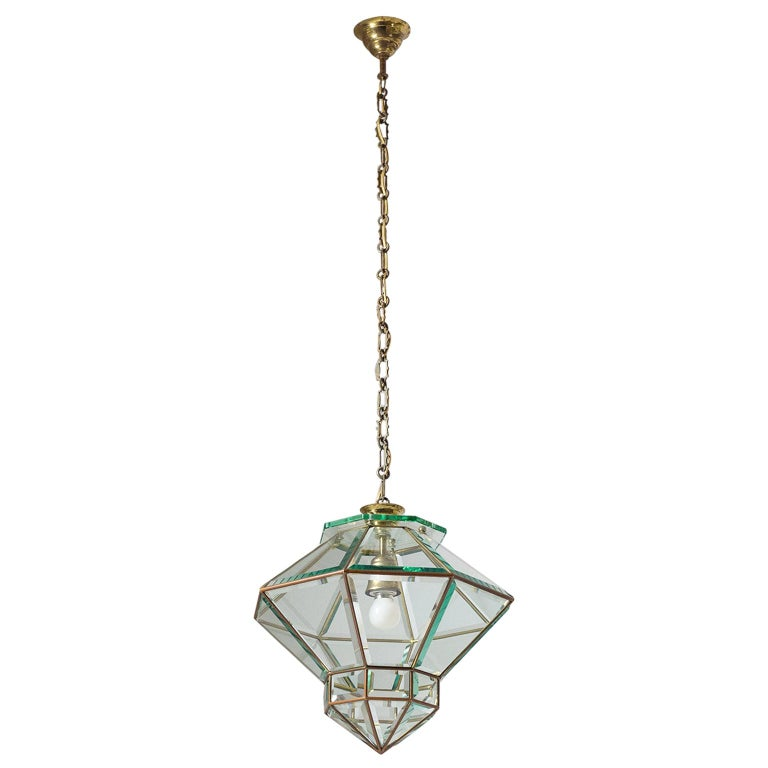 Italian 1940s Lantern, Faceted Glass and Brass For Sale