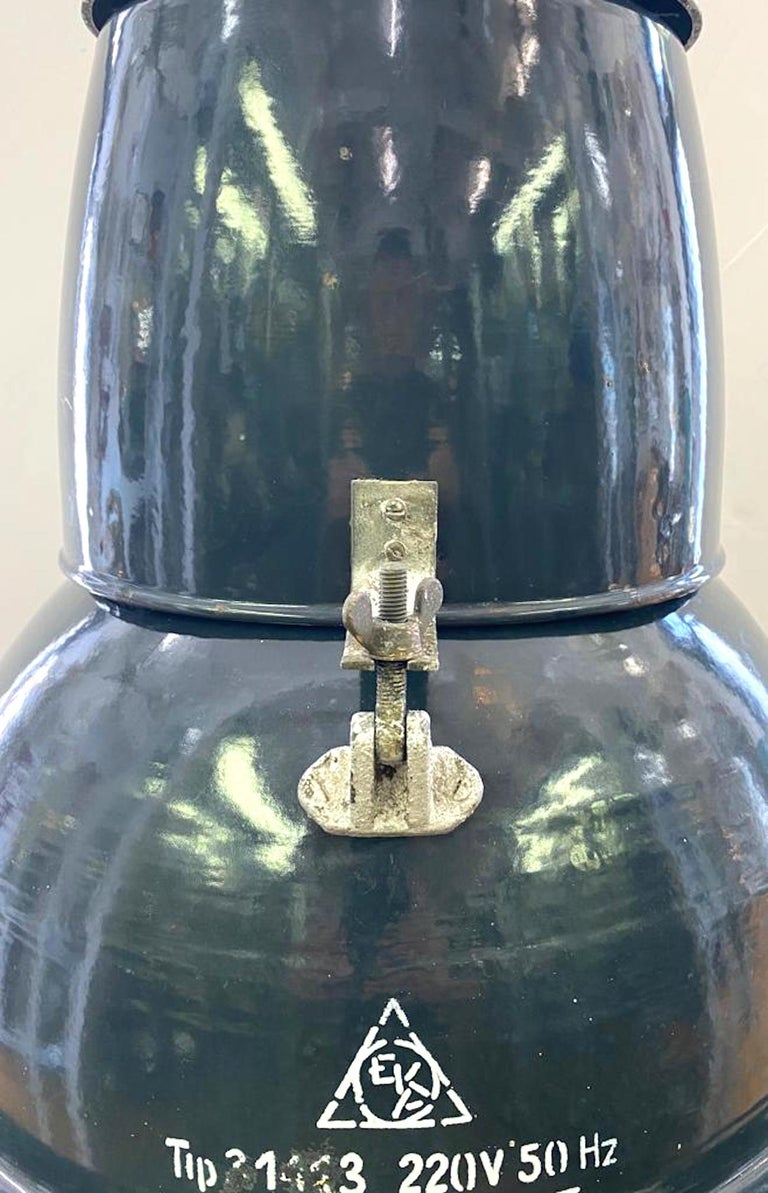 Italian 1940s Large Industrial Factory / Warehouse Enamel Lantern For Sale 6