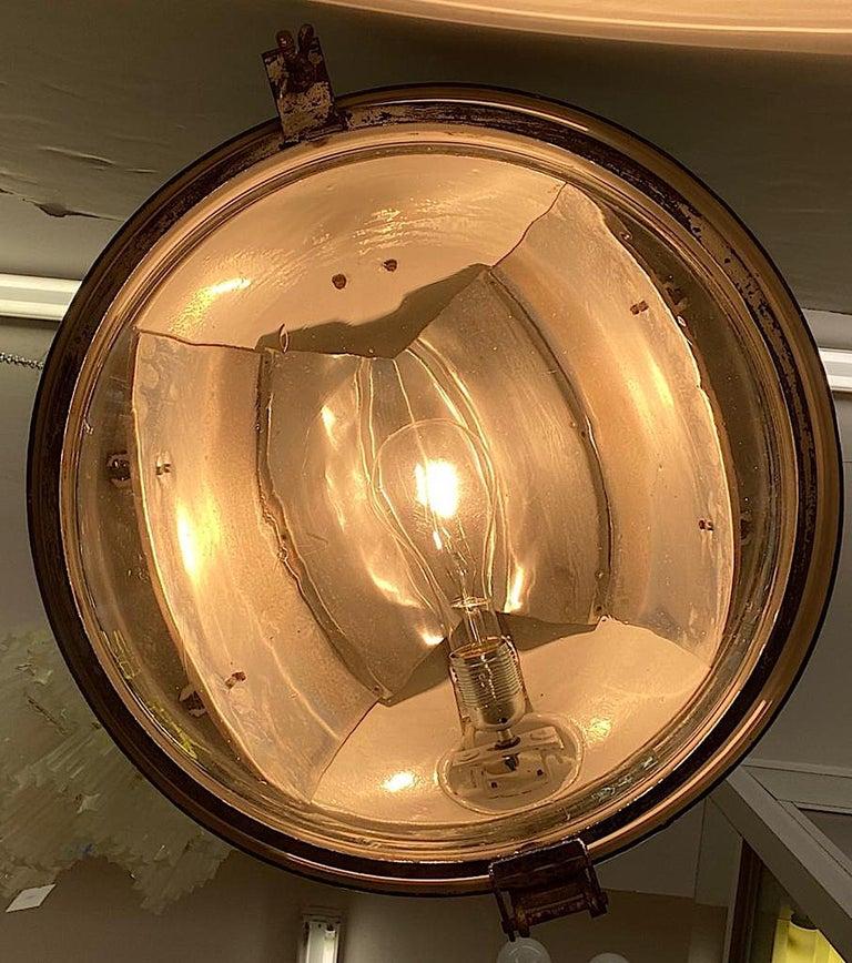 Italian 1940s Large Industrial Factory / Warehouse Enamel Lantern For Sale 2