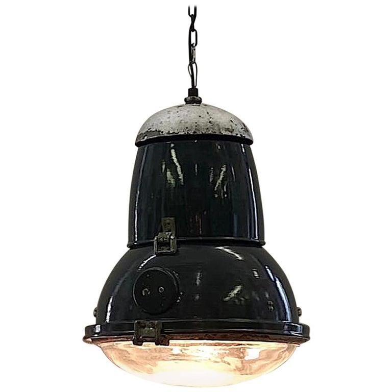 Italian 1940s Large Industrial Factory / Warehouse Enamel Lantern For Sale