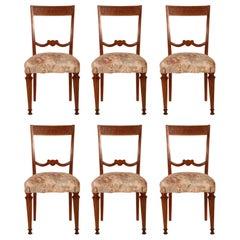 Italian 1940s Neoclassical Six Chairs Paolo Buffa Attributed in Blond Walnut