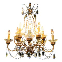 Italian 1940s Neoclassical Ten-Light Giltwood Pear Crystal Chandelier