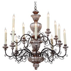 Italian 1940s Painted Carved Wood and Iron Chandelier