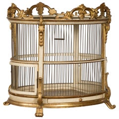 Italian 1940s Rococo Style Oval Birdcage with Gilt and Painted Accents