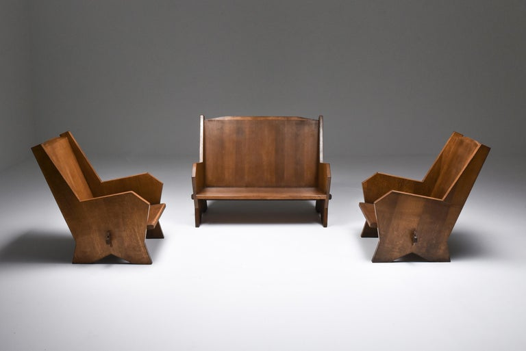 Italian 1940s Settee in Stained Beech For Sale 5