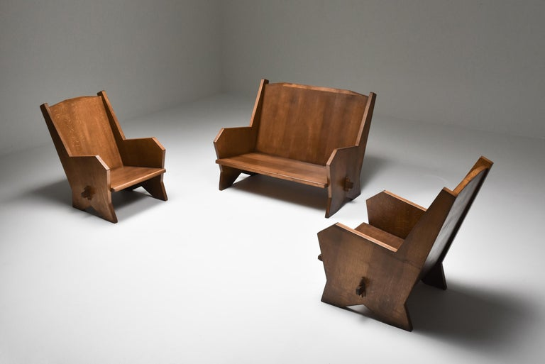 Italian 1940s Settee in Stained Beech For Sale 6