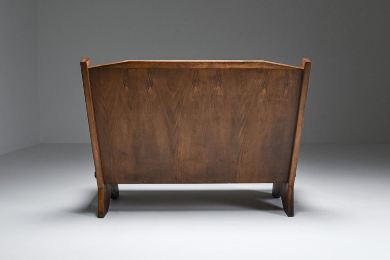 Mid-20th Century Italian 1940s Settee in Stained Beech For Sale