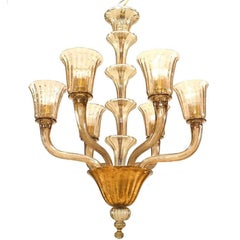 Italian 1940s Smoked Colored Glass Chandeliers