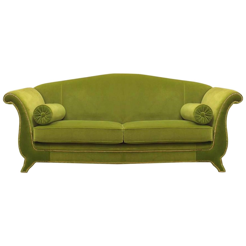 Italian Green Velvet Settee