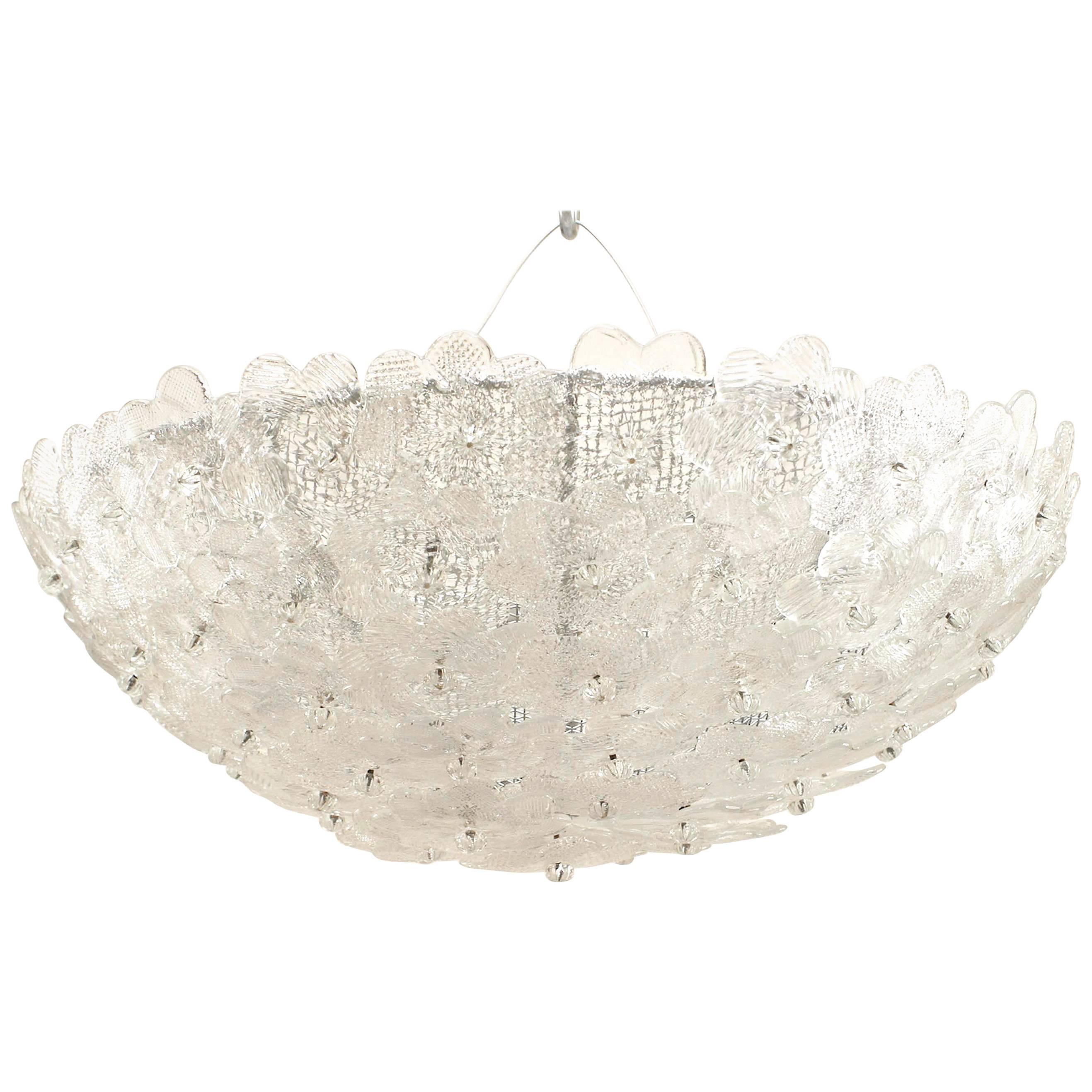 2 Italian Mid-Century Murano Glass Flower Ceiling Fixtures