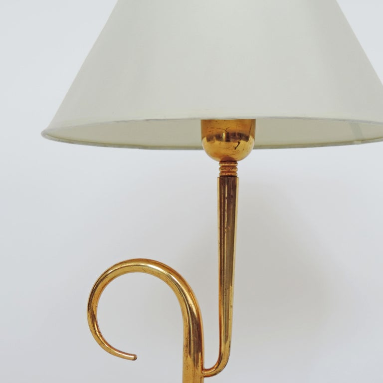 Italian 1940s Table Lamp in Glass and Brass In Good Condition For Sale In Milan, IT
