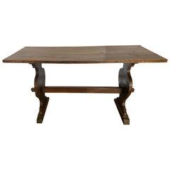 Italian 1940s Walnut Stretcher Side Table