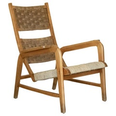 Italian 1940's Wood and Woven Lounge Chair