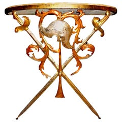 Italian 1940s Wrought Iron and Marble Console Table