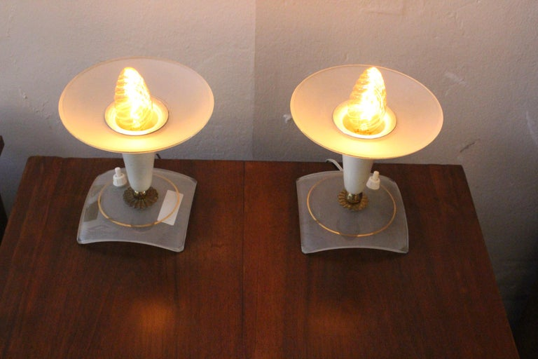 Italian lamps by Stilux. Glass shade metal and brass base.