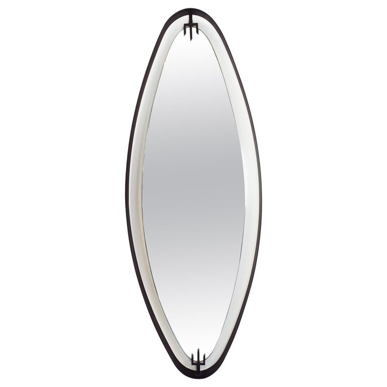 Italian 1950 Suspended Oval Wall Mirror with Black Metal Ribbon Clip-On Arrow For Sale