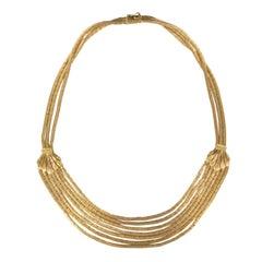 Italian 1950s 18 Karats Yellow Satin Gold Ribbons Drapery Necklace