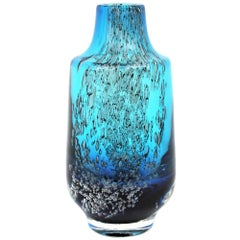 Italian 1950s Archimede Seguso Pulegoso Prussian Blue Murano Glass Bottle Vase