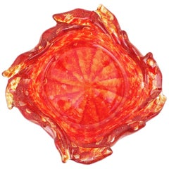 Barovier Toso Murano Orange Red Tornado Gold Flecked Art Glass Bowl