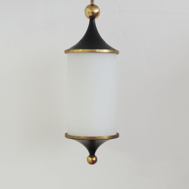 Mid-Century Modern Italian 1950s Black and Brass Pendant For Sale