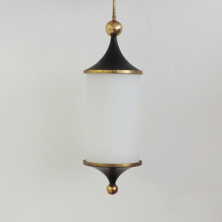 Mid-20th Century Italian 1950s Black and Brass Pendant For Sale