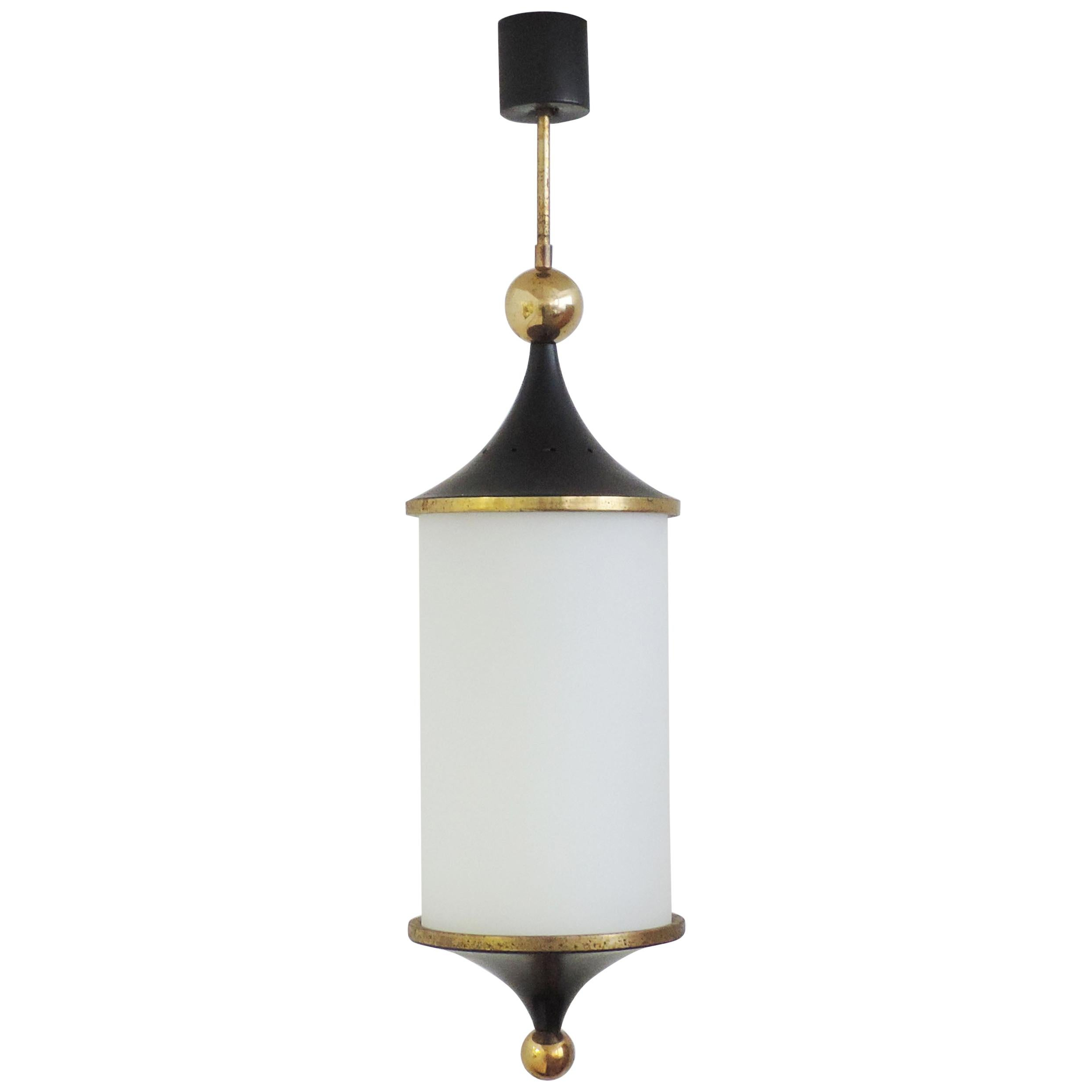 Italian 1950s Black and Brass Pendant