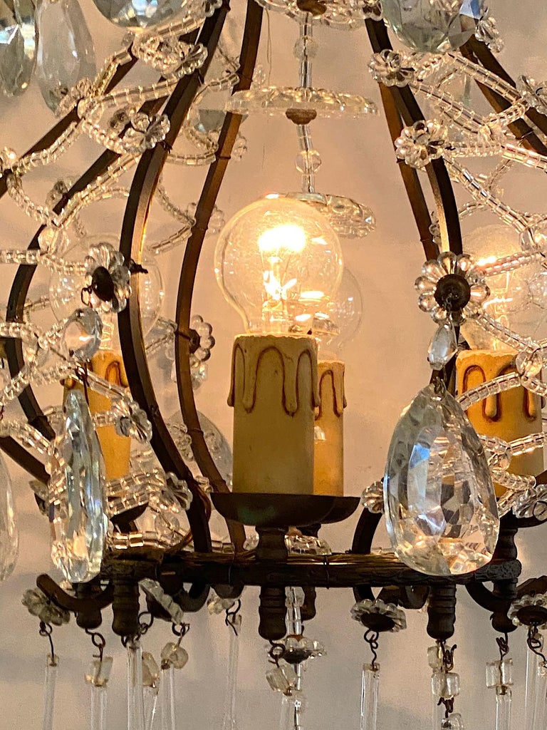 Hollywood Regency Italian 1950s Black Iron and Crystal Cage Pendant Light / Chandelier For Sale