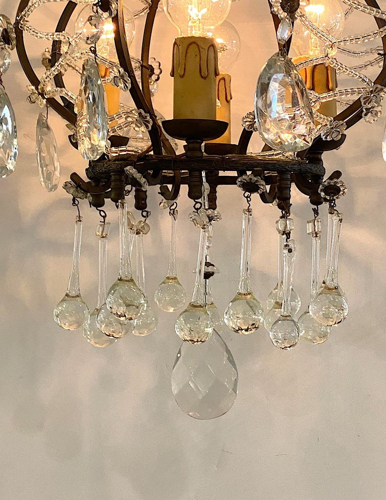 Italian 1950s Black Iron and Crystal Cage Pendant Light / Chandelier In Good Condition For Sale In New York, NY