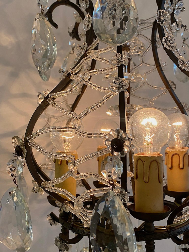 Italian 1950s Black Iron and Crystal Cage Pendant Light / Chandelier For Sale 1