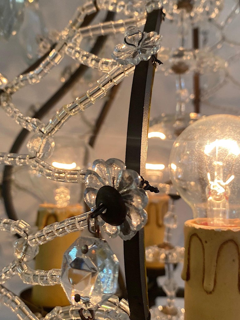 Italian 1950s Black Iron and Crystal Cage Pendant Light / Chandelier For Sale 3