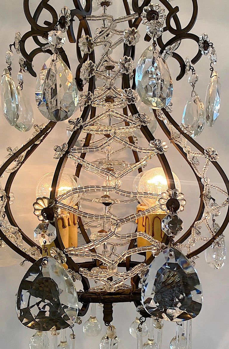 Italian 1950s Black Iron and Crystal Cage Pendant Light / Chandelier For Sale 4