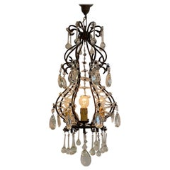 Italian 1950s Black Iron and Crystal Cage Pendant Light / Chandelier