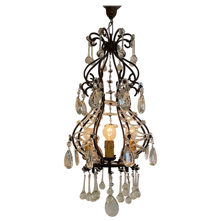 Italian 1950s Black Iron and Crystal Cage Pendant Light / Chandelier For Sale