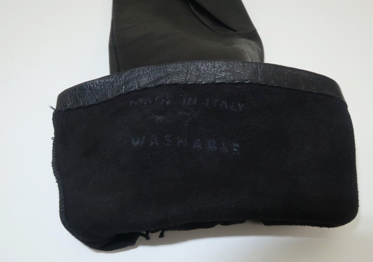 Italian 1950's Black Leather Gloves With Embroidered Cut Work 6