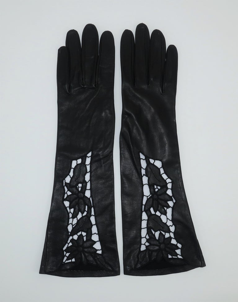 Women's Italian 1950's Black Leather Gloves With Embroidered Cut Work