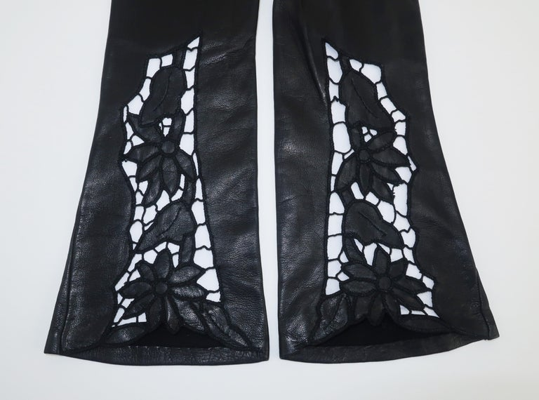 Italian 1950's Black Leather Gloves With Embroidered Cut Work 1