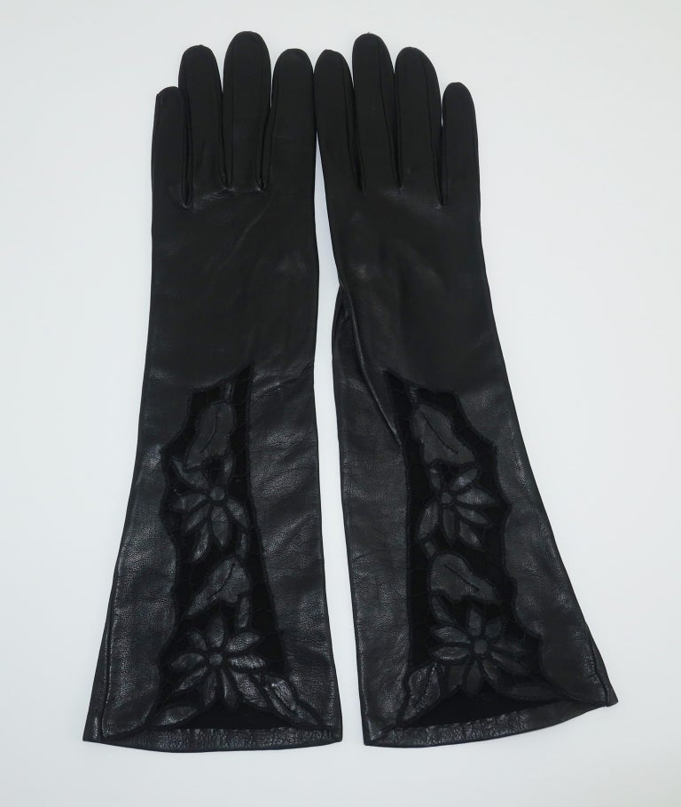 Italian 1950's Black Leather Gloves With Embroidered Cut Work 2