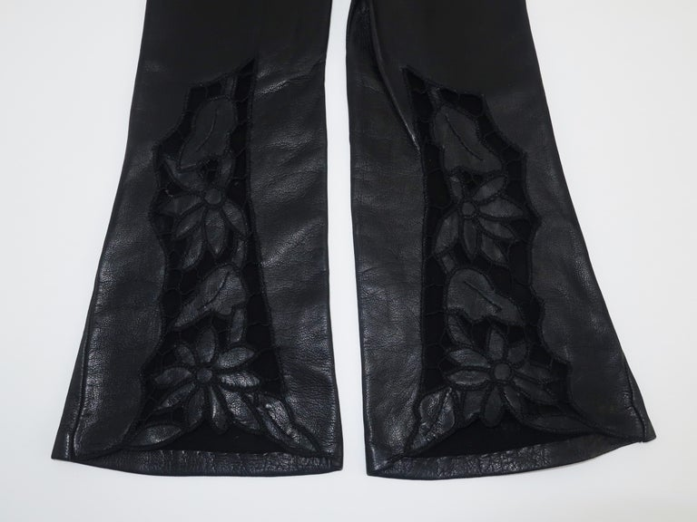 Italian 1950's Black Leather Gloves With Embroidered Cut Work 3