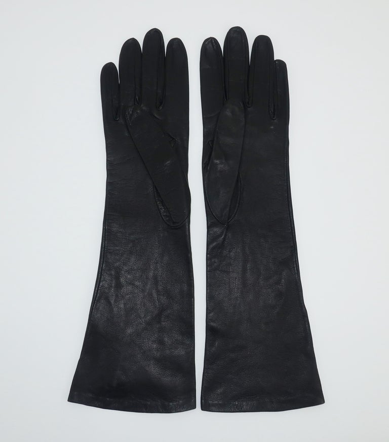 Italian 1950's Black Leather Gloves With Embroidered Cut Work 4