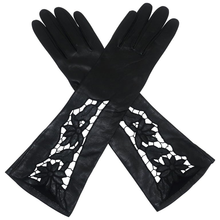 Italian 1950's Black Leather Gloves With Embroidered Cut Work
